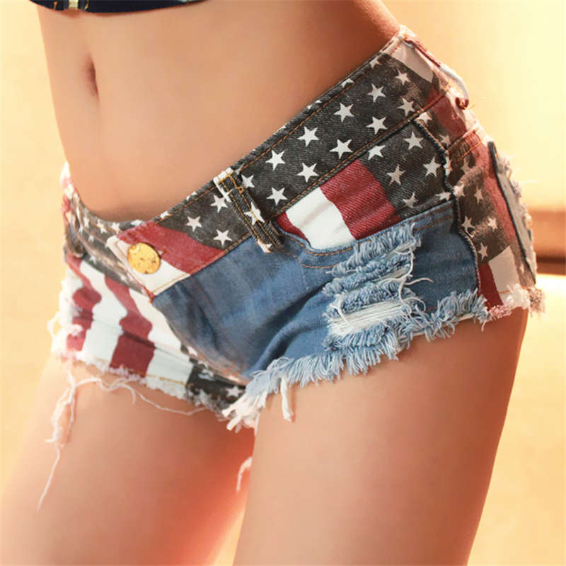 Hot Summer Sexy American Flag Printed Shorts New 2018 Sexy High Waist Hole Thong Daisy Duke Ripped Denim Patchwork Streetwear