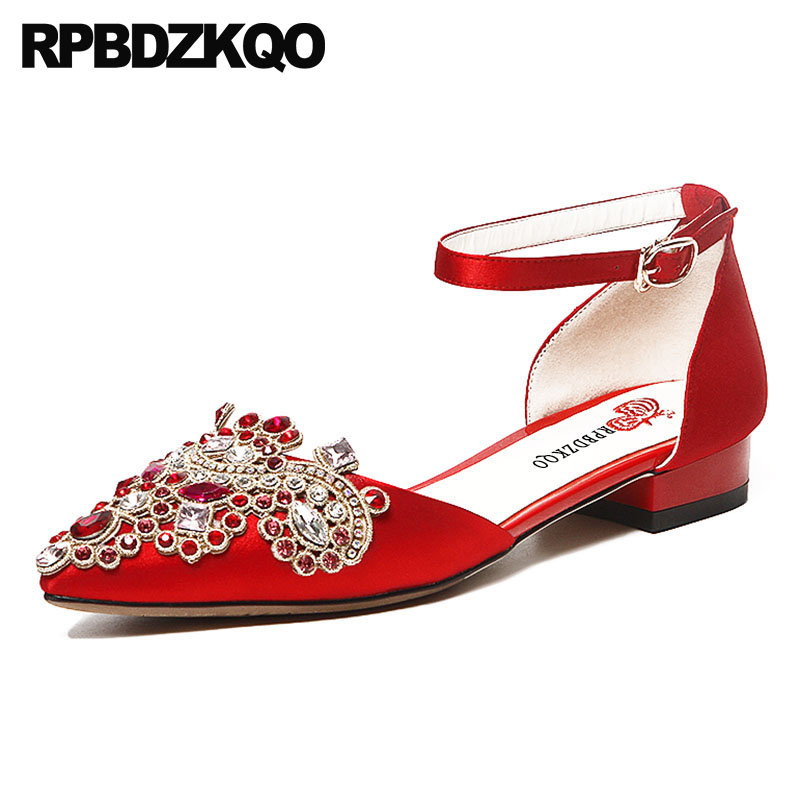 Glitter Women Wedding Ankle Strap Flats Silver Crystal Diamond Autumn  Spring Bling Sequins Single Shoes Pointed Toe Red Satin 318e189fb9f4