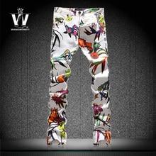 Окрашенный рисунок принт вилочная часть цветок брюки мужские джинсы мужчины в одежда 100% прорезиненная тесьма хлопок приталенный тонкий узкие деним брюки