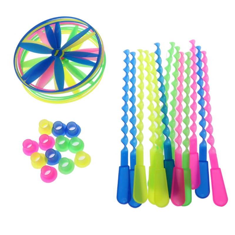 Package of 12 Twisty Flying Saucers Assorted Colors Helicopters Kids Toys Gifts-M15 turn down collar colorful polka dot print long sleeve shirt for men