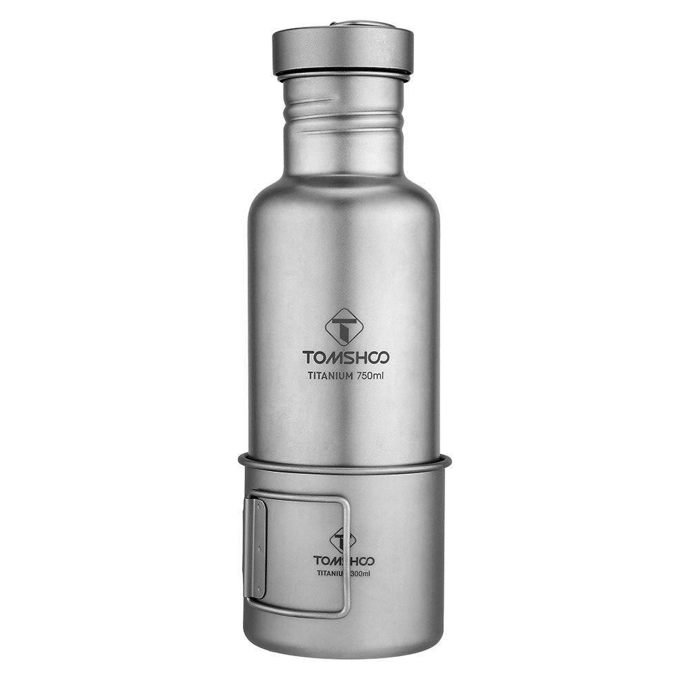Lixada vaisselle d'extérieur 300 ml/750 ml bouteille d'eau en titane avec couvercle en plastique Extra-léger Camping en plein air randonnée cyclisme - 2