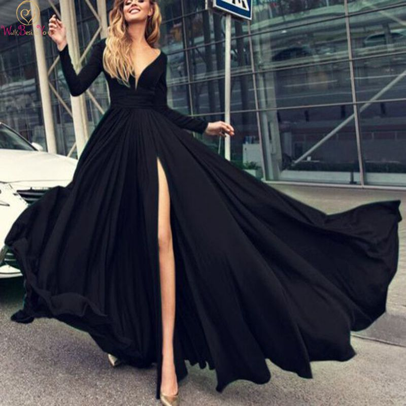 Full Sleeves Prom Dresses Chiffon 2019 Black Green Long Deep V Neck Sexy High Split Floor Length Evening Gown Walk Beside You