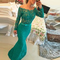 Emerald Green Long Sleeve Lace Mermaid Evening Dresses 2019 Party Off Shoulder Beaded Formal Evening Gown for Women