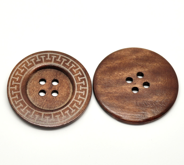DoreenBeads 10PCs Coffee 4 Holes Big Wood Sewing Buttons