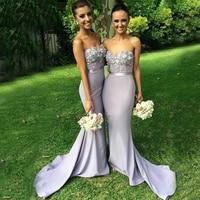 Plus Size Gorgeous Mermaid Long Strapless Bridesmaid Strapless Appliqued Flower Wedding Party Gowns Bridesmaid Dress Vestidos