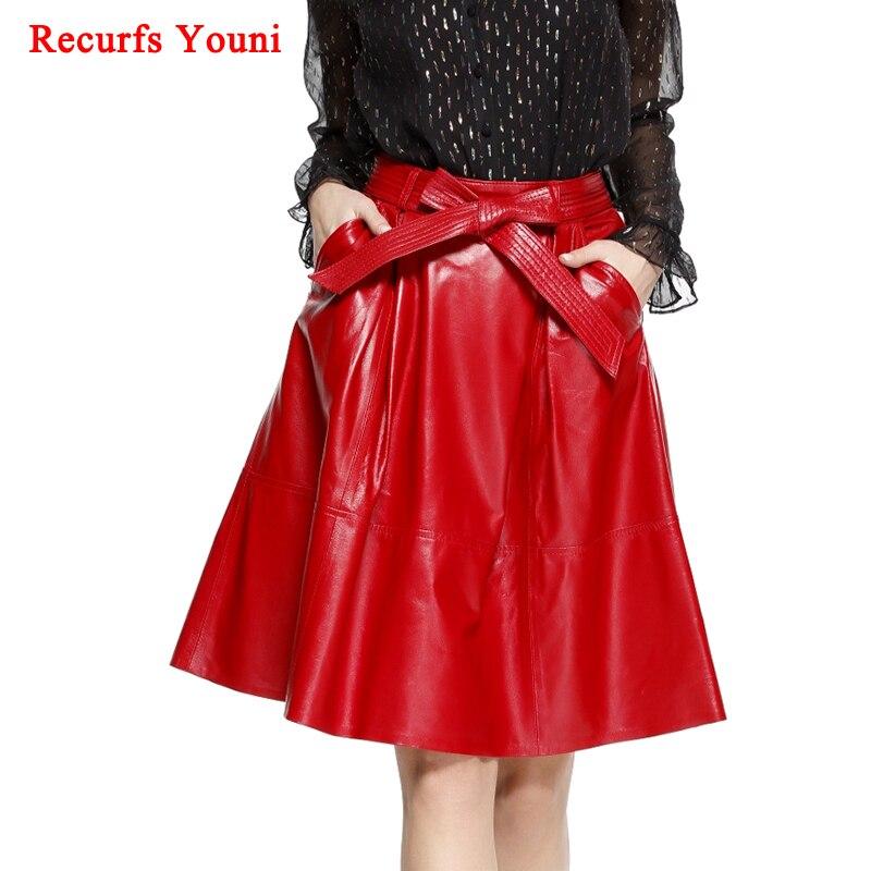 2019 hiver femme véritable cuir Jupe Midi dame rue Saia noeud ceinture rétro Vase grand rouge/noir Faldas filles plissée Jupe Faldas