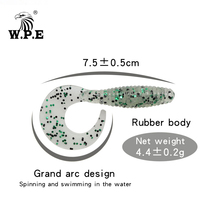 W.P.E Brand Soft Lure 5pcs/pack Multicolor Silicone Jig Swim Bait Bass T-Tail Fishing Wobblers Tackle