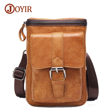 Joyir genuine leather waist bag for men casual waist bag men high quality crazy horse leather waist pack men's small bags 6330
