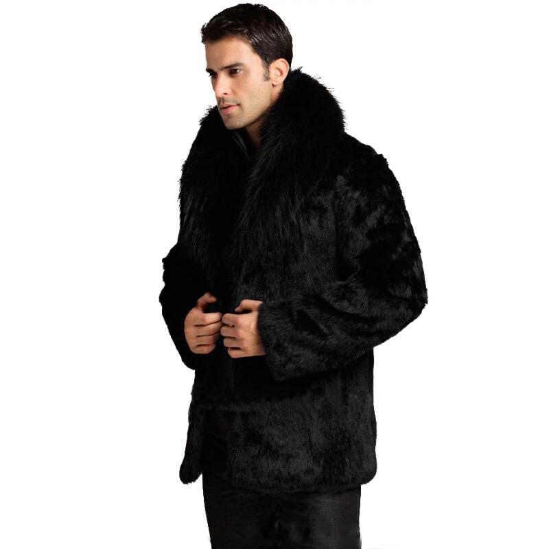 6XL 7XL homens Inverno moda gola de pele de raposa faux casacos de pele de coelho Preto bolsa em couro de luxo parka terno Upscale menswear ocasional jaquetas