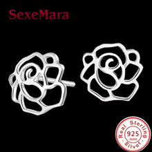 Flower Design Stud Earrings sterling-silver-jewelry Earring Fashion Jewelry For Woman brincos para as mulheres pendientes plata