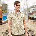 De Secagem rápida Homens de Manga Curta Camisas Soltas Camisas Casual Militar Verde Do Exército dos homens de Roupas Tamanho Grande M-3XL 4XL 5XL A3299
