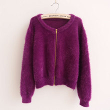 Hippocampus sweater coat knit shirt cardigan female Korean loose spring and autumn short paragraph high waist pony sea sweater