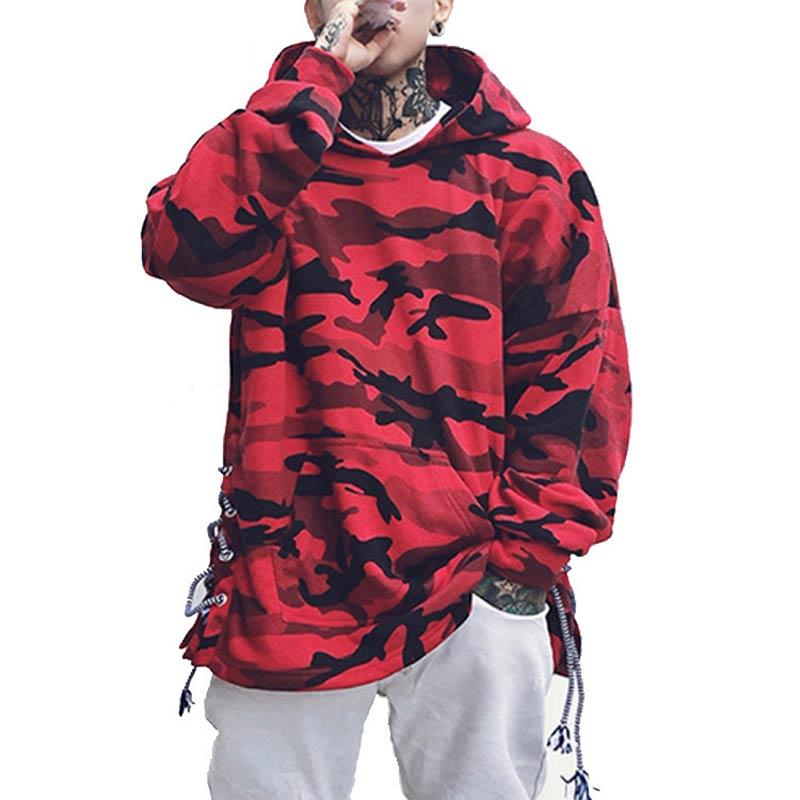FJUN camouflage men hoodies ribbon streetwear loose sweat homme hoodies sweatshirt men hip hop hoodies for men