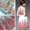 Gold Leaf Embroidered White Organza Lace Fabric For Sewing Craft Women Dress XL