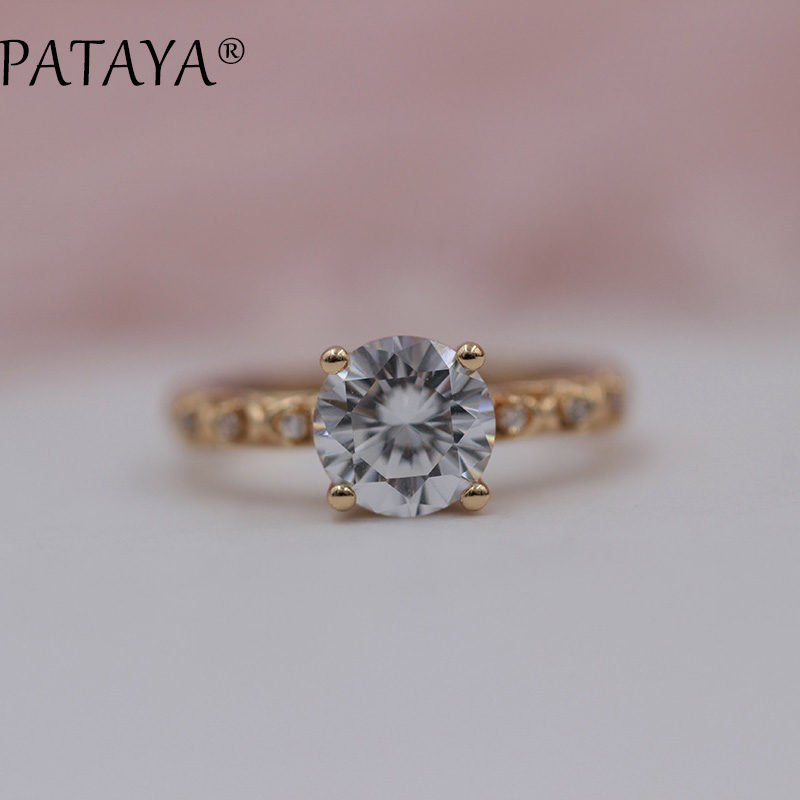 PATAYA New Arrivals 585 Rose Gold Wedding Jewelry Round White Natural Zircon Hollow Rings Women Party Unique Trendy Fine Jewelry