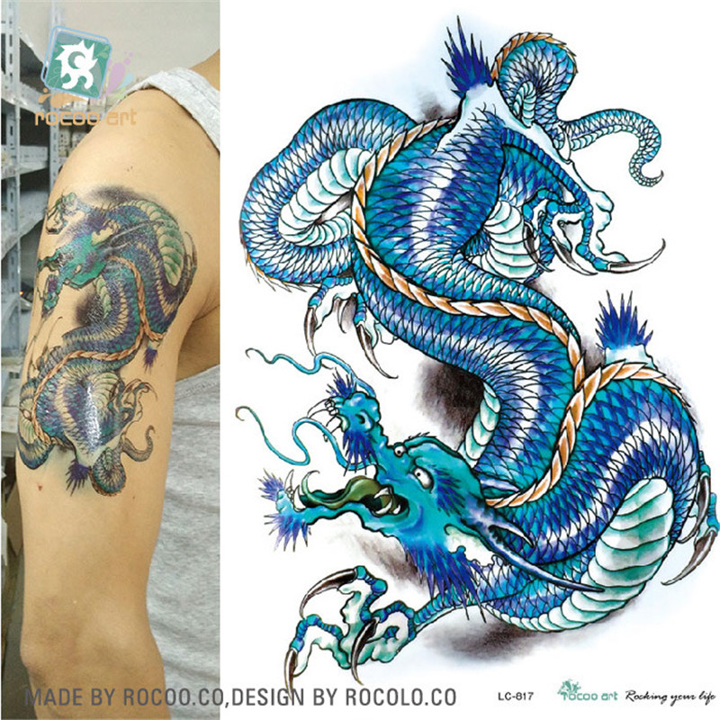 Body Art Waterproof Temporary Tatoo For Boy Men Color Domineering Dragon Arm Pattern Large Arm Flash Tattoo Sticker LC2817