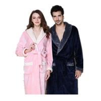 100 Coral Fleece Couples Bathrobe Thick Flannel Bathrobe Winter Autumn Thickening Terry Women Cotton Robe Men