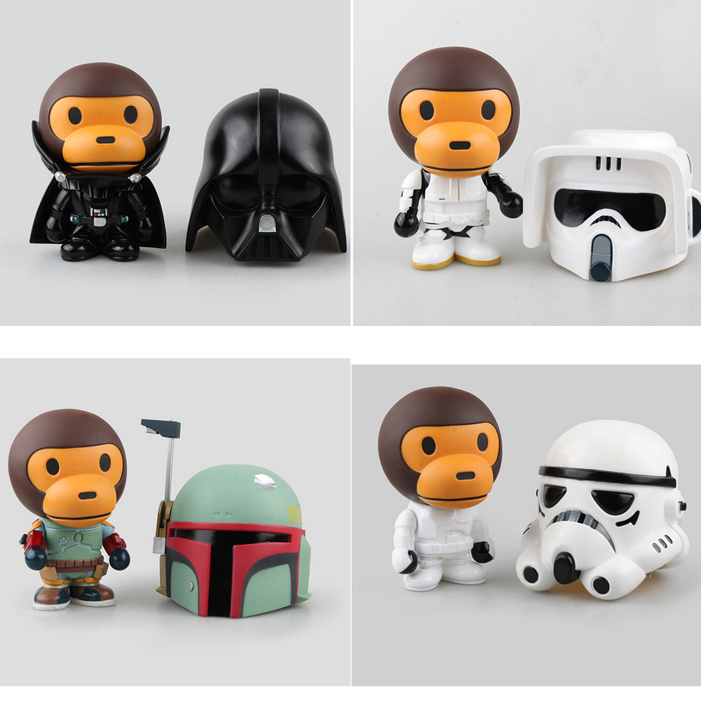 New Arrival Bape x Star wars Baby Milo Ape Aape Darth Vader & STORM TROOPER,Bobba Fett  With Original Box 22cm star wars darth vador mask 1 1 cosplay toy adults 2016 new real man wearing darth vader storm trooper helmet toys for kids