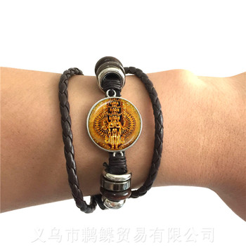 2018 New 20mm Round Glass Cabochon India Elephant God Adjustable Leather Bracelet For Friends Black/Brown 2 Color Leather Cords image