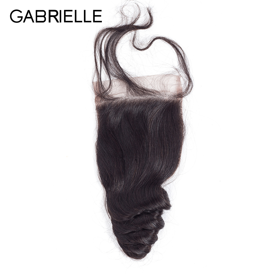 Gabrielle Lace Closure Human-Hair Weave Brazilian 4x4 with 8--22-Free/middle/three-part