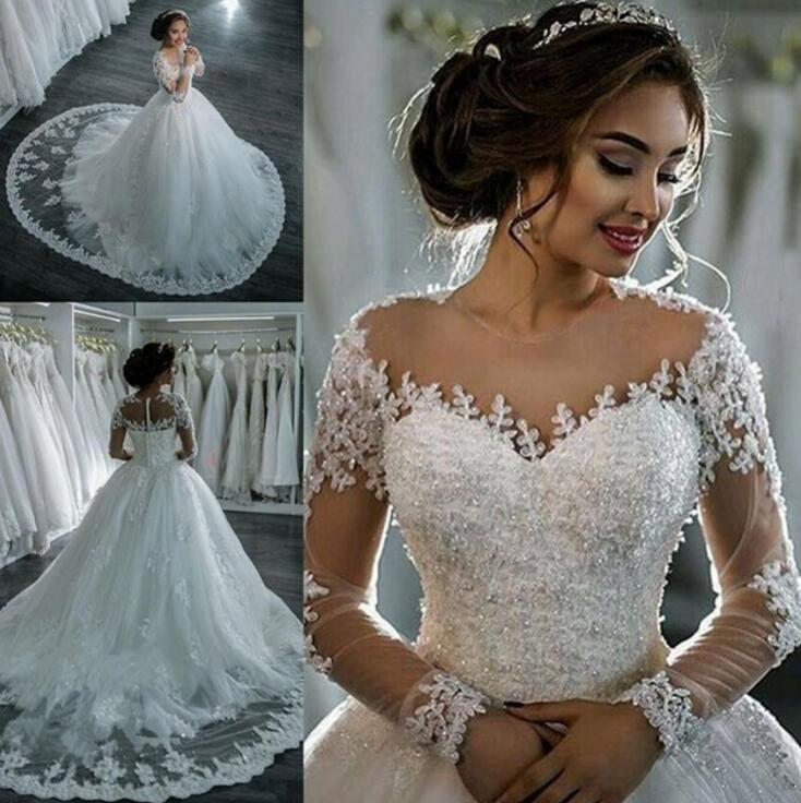 Vestidos De Noiva 2019 New Elegant A Line Long Sleeve Wedding Dress Tulle Appliques Beaded Princess Lace Wedding Gowns Plus Size