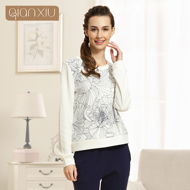 Qianxiu Pajamas Sets For Women Fashion Nightwear Modern Long Sleeve Sleepwear Winter Lounge Wear 15282