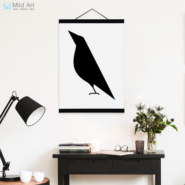 Modern Abstract Black White Animals Birds Wooden Framed Canvas ...