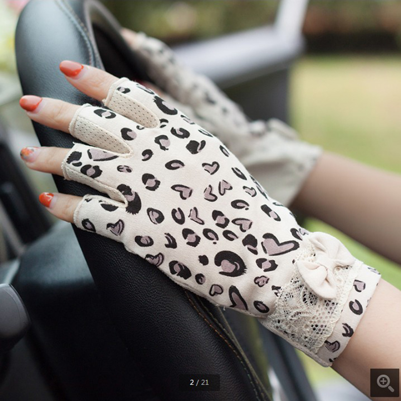Half Finger Thin Lace Cotton Sunscreen Gloves Female Student Summer Fingerless Driving Non-Slip Outdoor WAJJ01