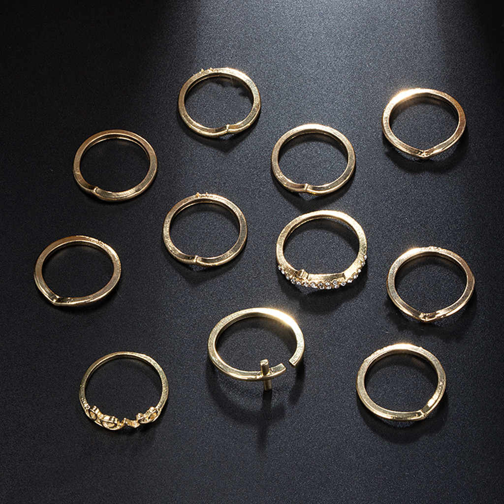 Ring Women English Letter V-shaped Hollow Three-layer Alloy Ring Set Of 11 Jewelry rings for women anillos mujer #CE15