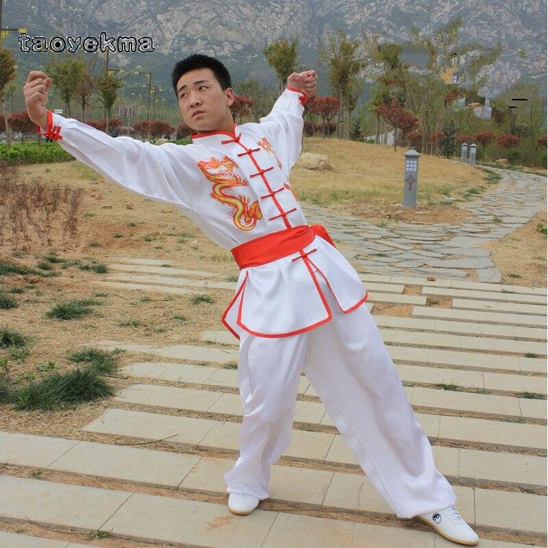 Taoyekma Wushu Kung Fu Clothing Uniform Costume Men Male Chinese Style Dragon Martial Arts Uniform Wing Chun Clothing