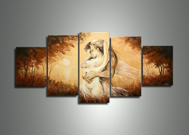 Handmade 5 Panel Modern Abstract Oil Painting On Canvas Wall Art Sexy Naked  Lover Body Pictures