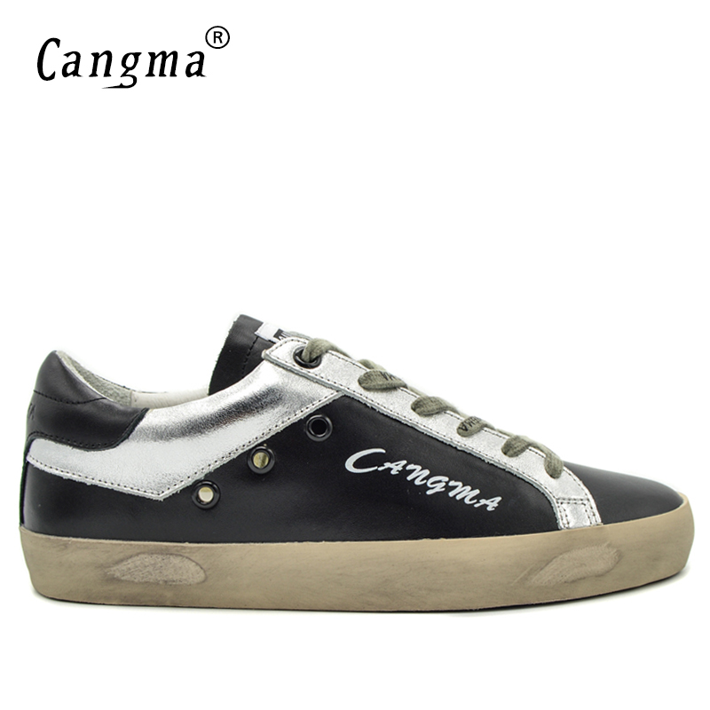 CANGMA Luxury Brand Durable Mens Shoes Lace-up Black Genuine Leather Sneakers Male Shoes Breathable Adult Trainers Flat Footwear glowing sneakers usb charging shoes lights up colorful led kids luminous sneakers glowing sneakers black led shoes for boys
