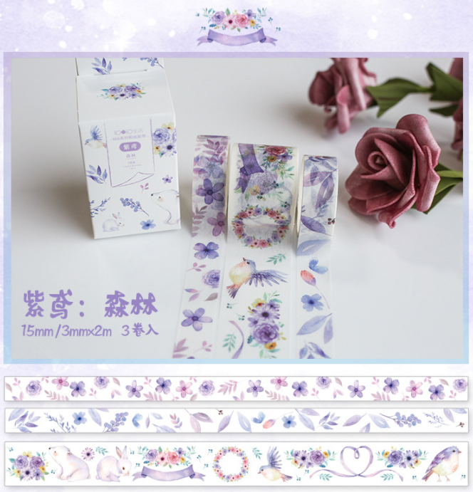 3 Pcs/pack Purple Forest Decorative Washi Tape  DIY Scrapbooking Masking Tape School Office Supply Escolar Papelaria