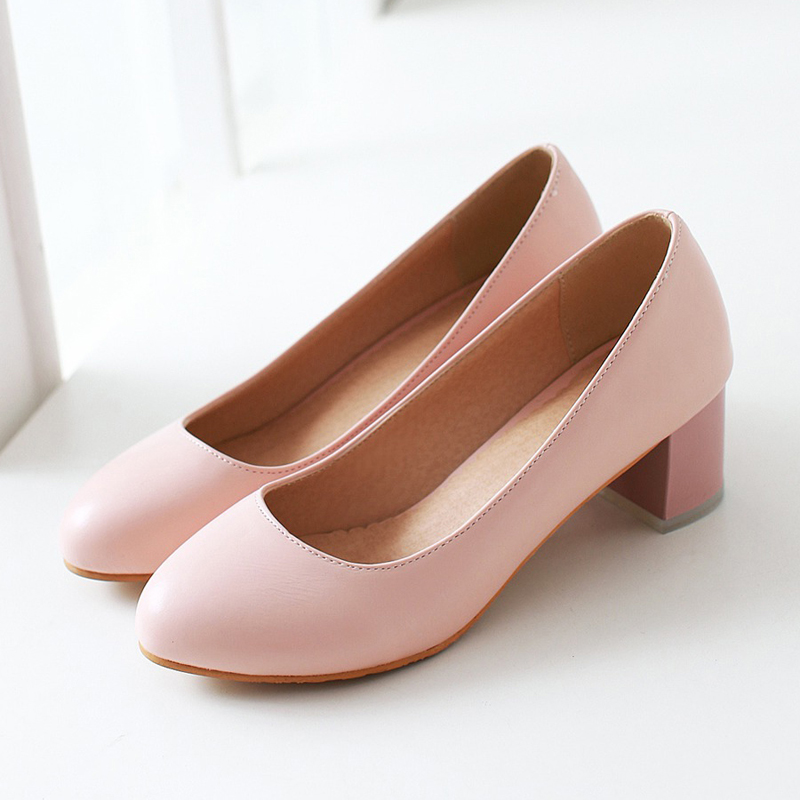 South Korean sweet style comfortable round toe pumps simple slip pink blue white med with women's shoes big size рубашка в клетку dc south ferry 2 south blue
