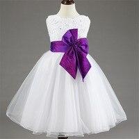 Blanco Formal Niñas Floral Ropa Vestido del Bautizo Niños Adolescente Vestido de Tul Para Niños Bebé 3-12 años