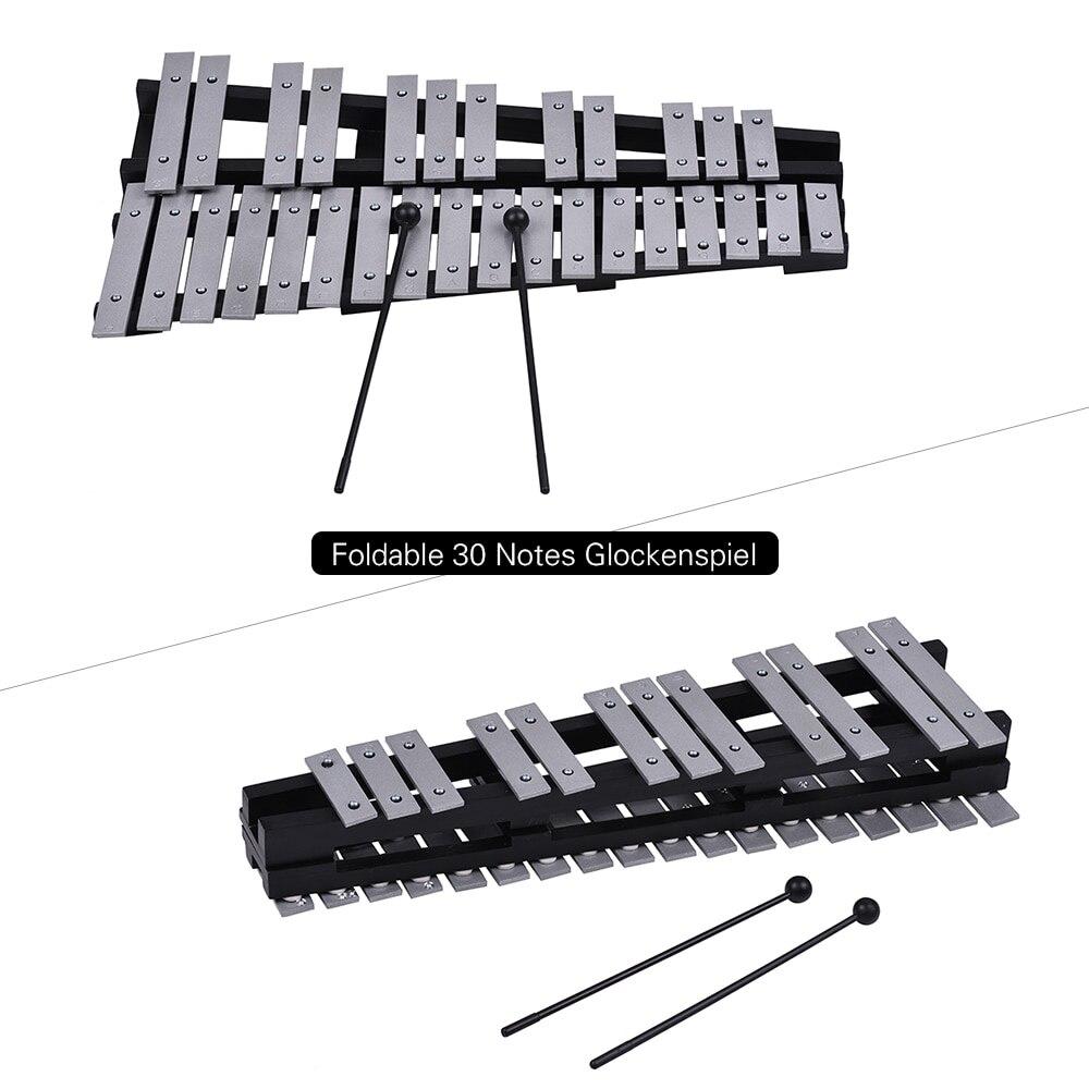 Pliable 30 Note Glockenspiel Xylophone cadre en bois barres en aluminium éducatif Percussion Instrument de musique cadeau - 2