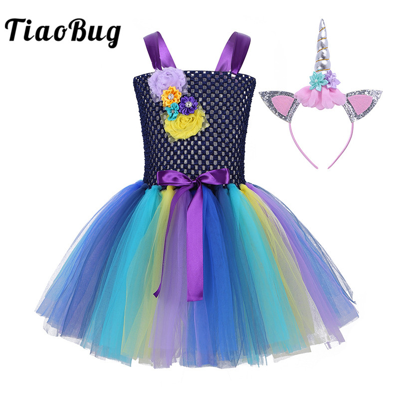TiaoBug Kids Girls Flowers Bowknot Cartoon Colorful Halloween Cosplay Party Costume Set Princess Mesh Tutu Dress with Hair Hoop