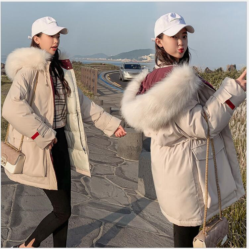 2019 New women winter jacket thick sonw wear outerwear coat with hooded fur collar   Parka   Female Down Cotton Clothing 222