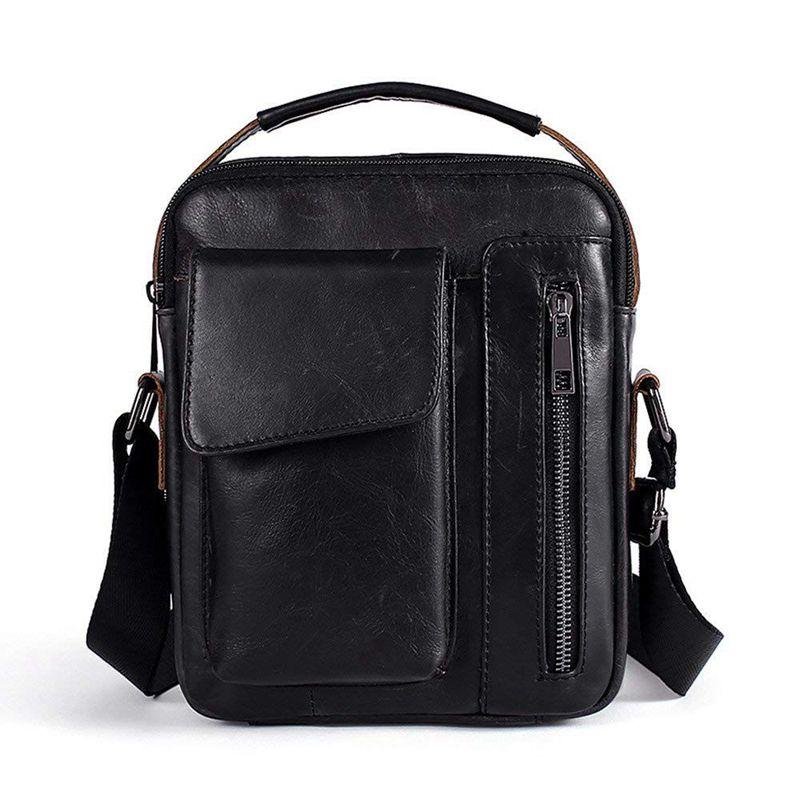 Shoulder Bag Genuine Leather For Men Briefcase Small Shoulder Bag For Casual, Business (Black)