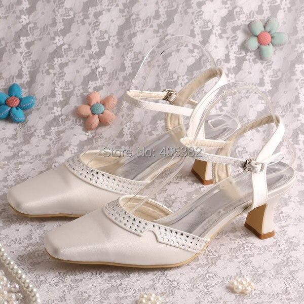 Wedopus White Ivory Square Toe Chunky Heel Slingback