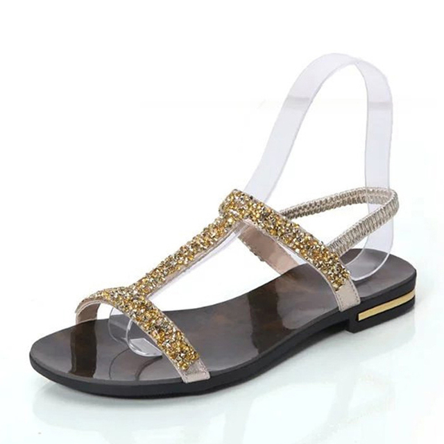 eb7909389 Women T-Strap Gold Silver 2017 New Arrival Sandals Fashion Bling Decoration  Korean Type Flat with Shoes Woman WL23