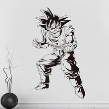 Autocollants muraux en vinyle, autocollants décoratifs Dragon Ball Z, anime japonais Goku et posture de combat, pour chambre de jeunesse, pour chambre à coucher
