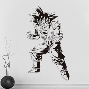 Image 1 - Dragon Ball Z pegatina de postura de combate de Goku, anime japonés, pegatina para pared de dormitorio, habitación juvenil, fanáticos del Anime, vinilo decorativo pared, pegatinas LZ06