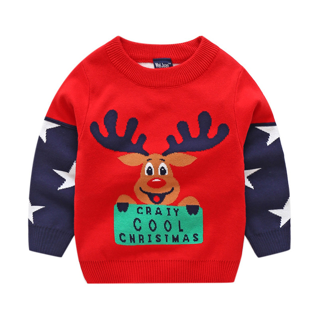 8e901944a Boys Knitted Sweaters Cotton Kid Cartoon Elk Red Christmas Sweater ...