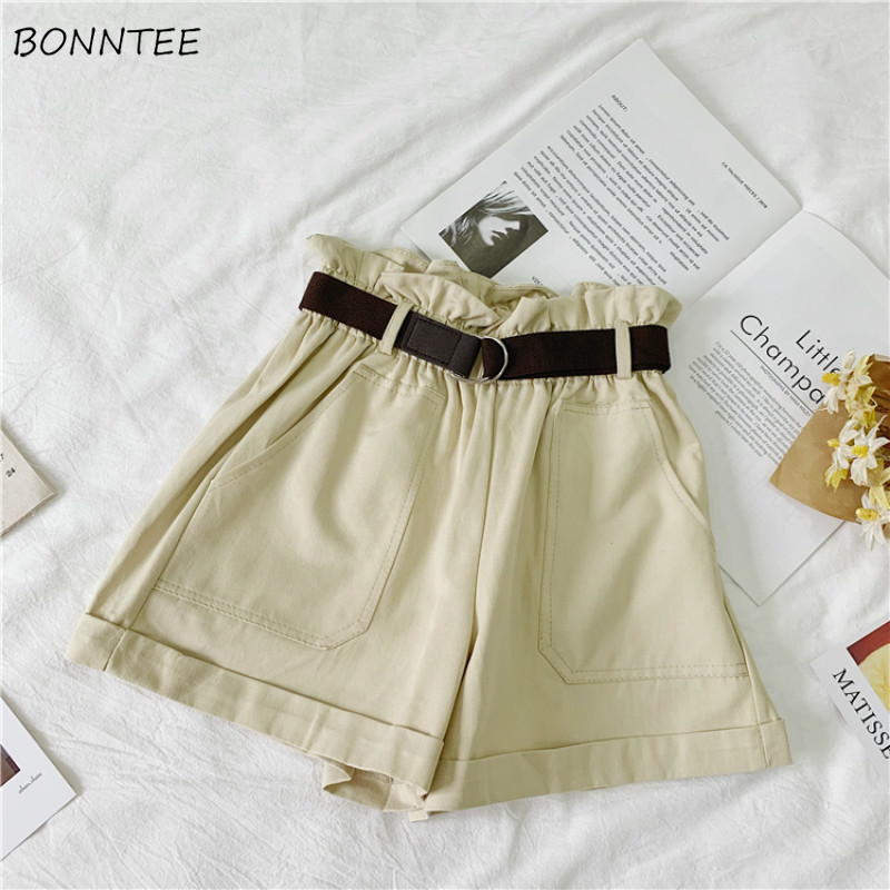 Shorts Women Solid Trendy Elegant All-match High-quality Korean Style Pockets Leisure Daily Womens Female Lovely Simple Loose