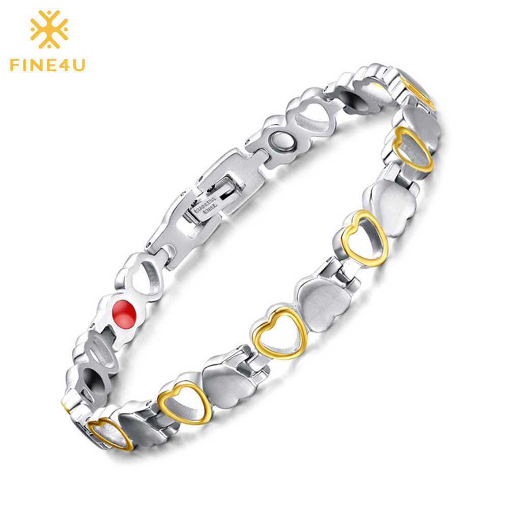 FINE4U B080 Heart Shape Health Magnetic Bracelet For Women 316L Stainless Steel Bracelets & Bangles with Health Germanium