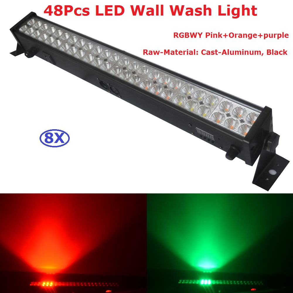 8 Pack Stage Lights 48X3W 8 Colors LED Bar Wall Wash Light DMX512 Indoor Equipments Home Entainment Professional DJ Disco Lights led rgb wall wash bar light dmx512 night club wedding party disco stage
