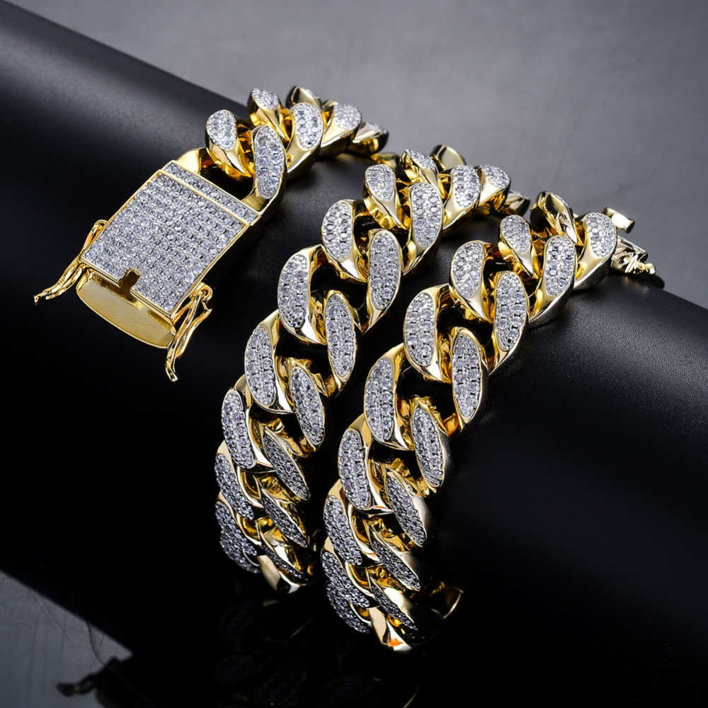 BNRESALE Mens 18mm Gold Silver Copper AAA Zircon Hip Hop CZ Iced Out Miami Cuban Chain Necklace for Rappers Basketball DancerBNRESALE Mens 18mm Gold Silver Copper AAA Zircon Hip Hop CZ Iced Out Miami Cuban Chain Necklace for Rappers Basketball Dancer
