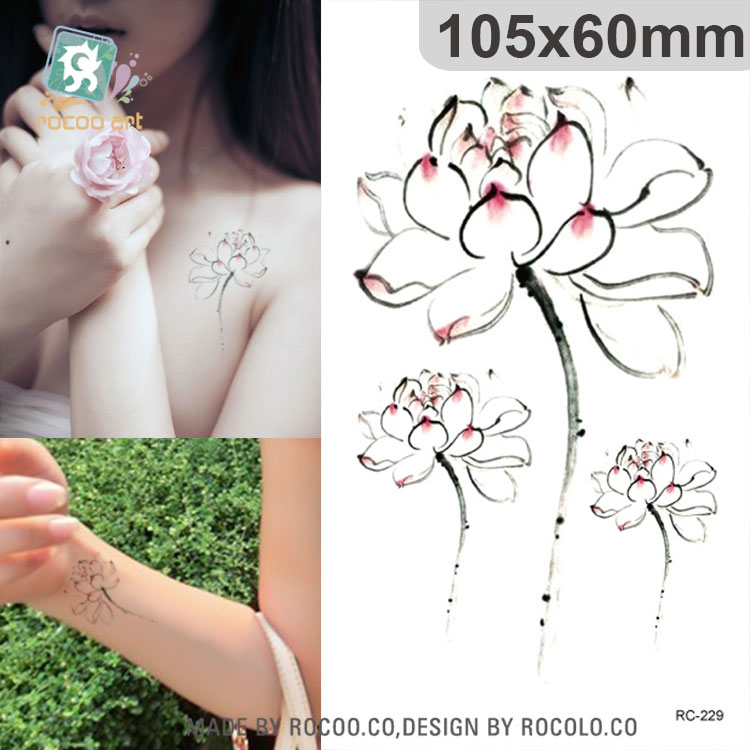 Rc 229waterproof Fake Tattoo Stickers Colored Water Lily Lotus