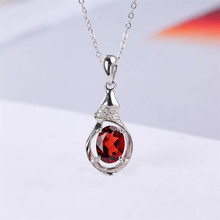 fashionable white 925 sterling silver plated natural red garnet necklace pendant for girl